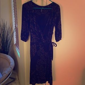 Beautiful black midi wrap dress from H&M, size 8